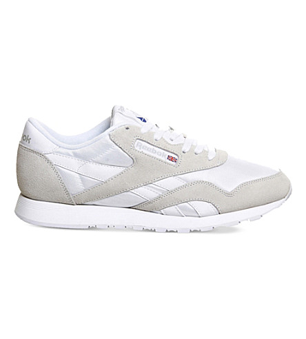 REEBOK Classic suede and nylon trainers (White+light+grey