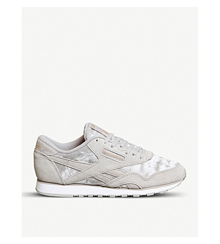 REEBOK Cl Nylon suede and velvet trainers (Whisper+grey+gold