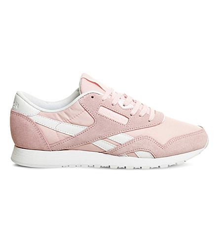 REEBOK Classic suede-panel trainers (Porcelain pink white
