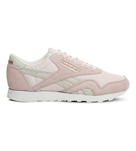 REEBOK Classic Nylon suede trainers (Porcelain+pink+white