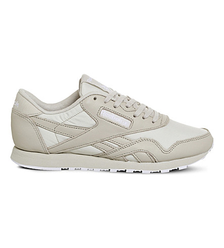 REEBOK Classic nylon and leather trainers