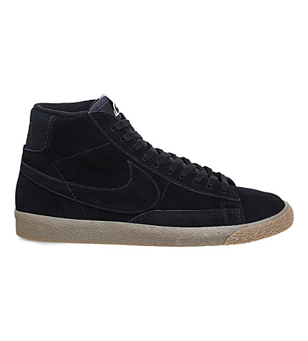 NIKE Blazer mid-top suede trainers (Black+gum