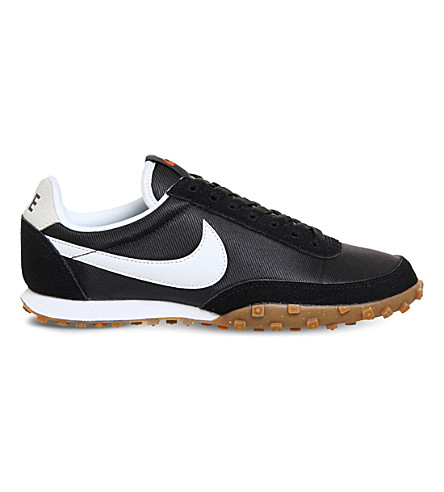 NIKE Waffle Racer nylon and suede trainers (Black+white
