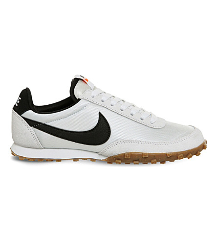 NIKE Waffle Racer nylon and suede sneakers (Off+white+black