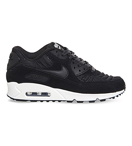 NIKE Air Max 90 quilted suede trainers (Black black ivory