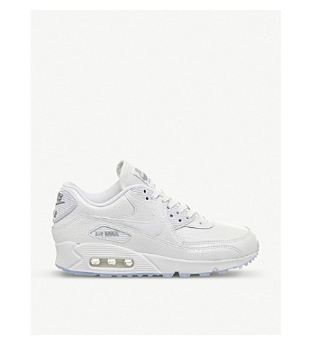 NIKE Air Max 90 leather trainers (White metallic silve