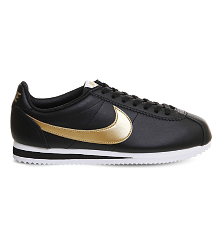 NIKE Classic Cortez OG leather trainers (Black+metallic+gold