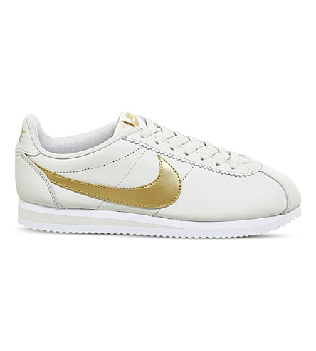 NIKE Classic Cortez OG leather trainers (Light+bone+metallic