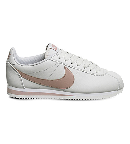 NIKE Classic Cortez OG leather trainers (Light+bone+pink