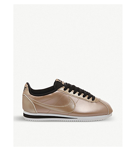 NIKE Cortez OG metallic-leather trainers (Metallic bronze