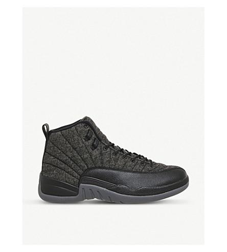 NIKE Air Jordan 12 Retro wool and leather sneakers (Black grey