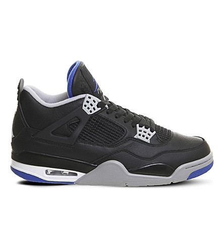 NIKE Jordan 4 Retro leather trainers (Black+silver+white