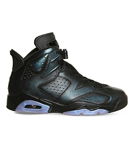 NIKE Air Jordan 6 metallic-leather sneakers (Black+white+hornet