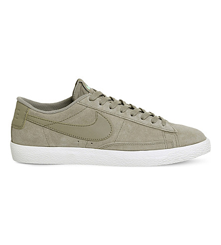 NIKE Blazer suede low-top vintage trainers (Khaki+fresh+mint