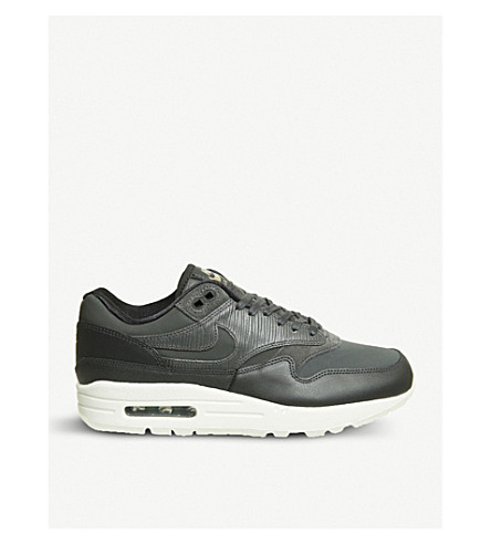 NIKE Air Max 1 leather trainers (Anthracite+white