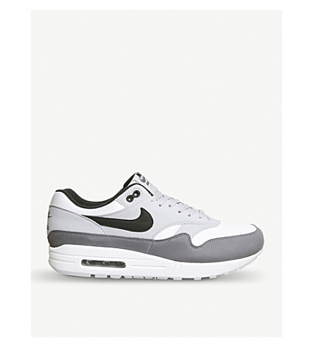NIKE Air Max 1 leather trainers (White+black+grey