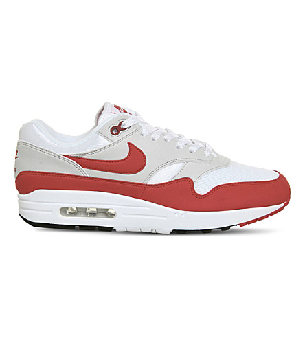 NIKE Air Max 1 mesh and leather trainers (White+university+red
