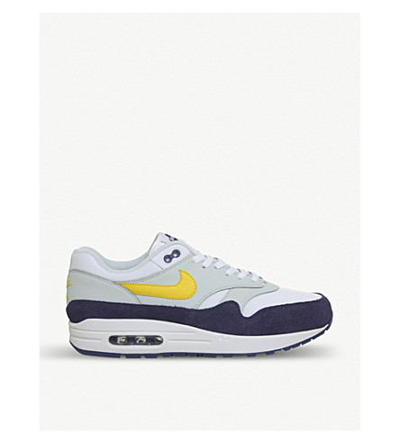 NIKE Air Max 1 leather and suede trainers (White+tour+yellow