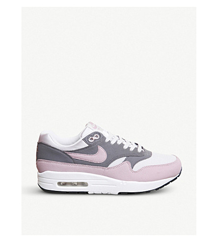 NIKE Air Max 1 leather trainers (Vast+grey+pink