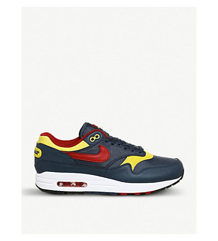 NIKE Air Max 1 panelled leather trainers (Navy+gym+red