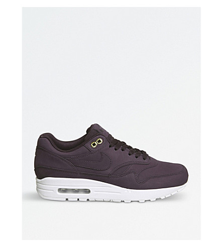 NIKE Air Max 1 leather trainers (Port+wine+white