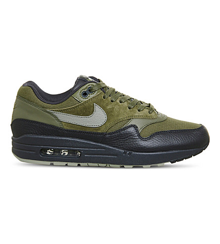 NIKE Air Max 1 leather and canvas trainers (Medium+olive+stucco