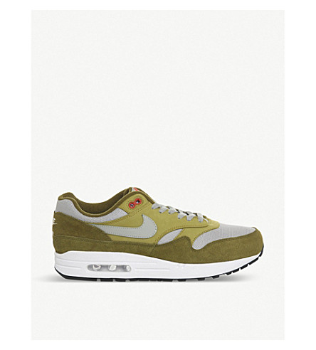 NIKE Air Max 1 leather trainers (Olive+hasanero+red