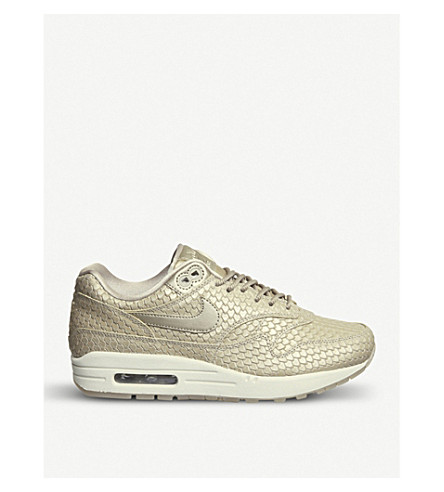 NIKE Air Max 1 snakeskin-effect leather trainers (Blur+light+orewood