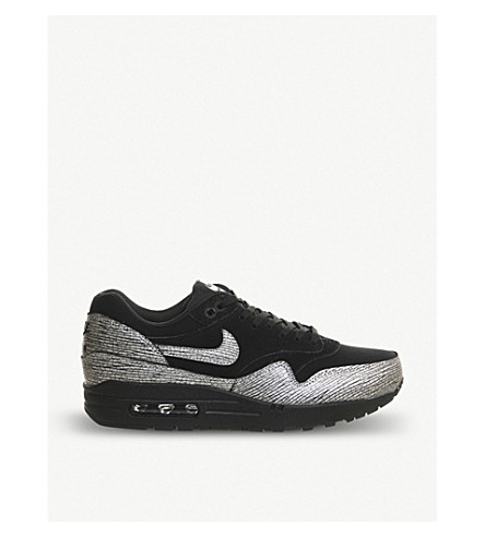 NIKE Air max 1 NYC metallic leather trainers (Black/silver