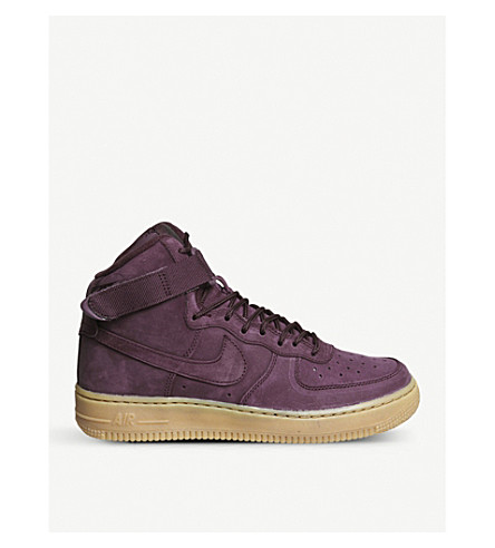 NIKE Air Force 1 suede high-top trainers (Bordeaux+gum+brown