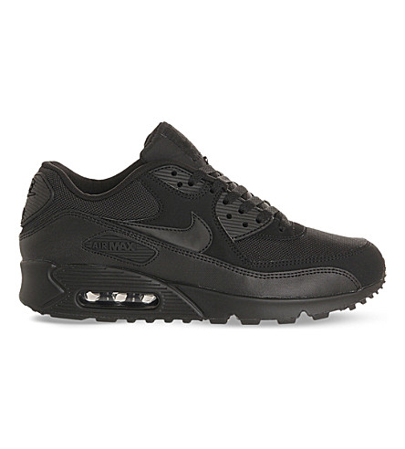 NIKE Air Max 1 mesh and leather trainers (Black mono