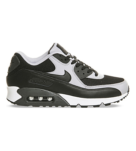 NIKE Air Max 90 leather and mesh trainers (Black+grey+white