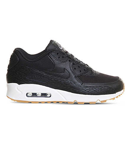 NIKE Air Max 90 Premium leather trainers (Black+white+geode
