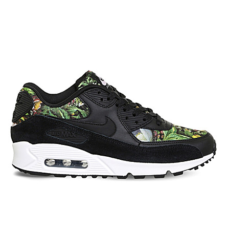 NIKE Air Max 90 leather floral-print trainers (Black prism pink