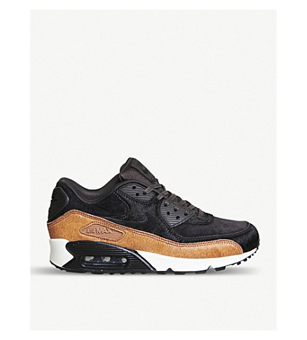 NIKE Air Max 90 suede and ponyhair trainers (Black+cider+pony+fur