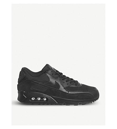 NIKE Air Max 90 leather and mesh trainers (Black+black+prm