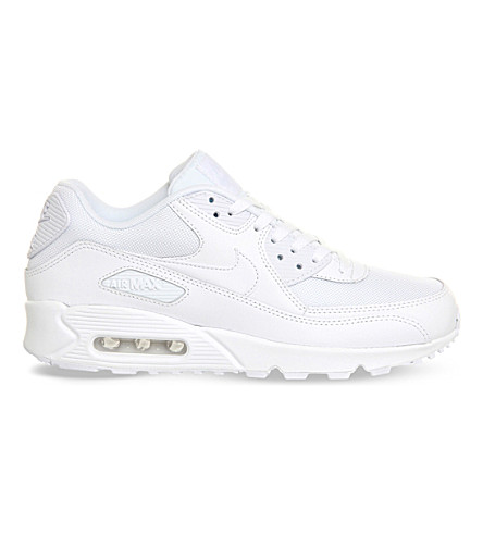 NIKE Air Max 90 leather trainers (White+mono