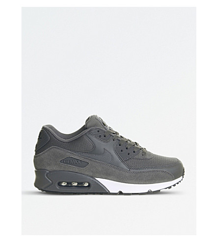 NIKE Air Max 90 suede and mesh trainers (Dark+grey+white