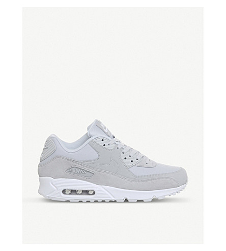 NIKE Air Max 90 mixed leather trainers (Pure+platinum+white