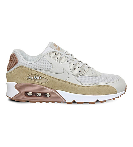NIKE Air Max 90 leather and mesh trainers (Light+bone+mushroom
