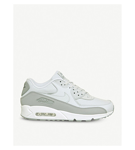 NIKE Air Max 90 low-top leather trainers (Wolf+grey+pure+flat