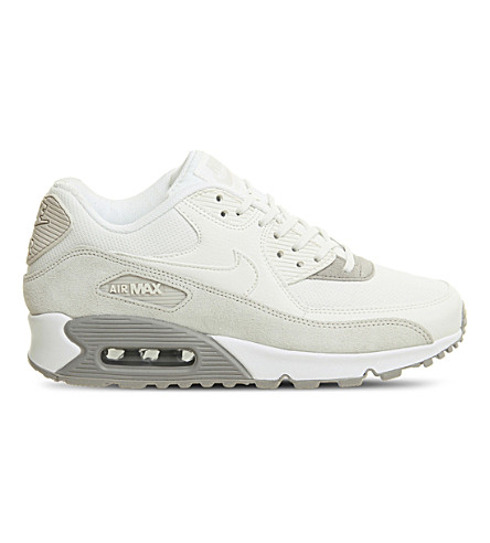 NIKE Air Max 90 leather and mesh trainers (Light+orewood