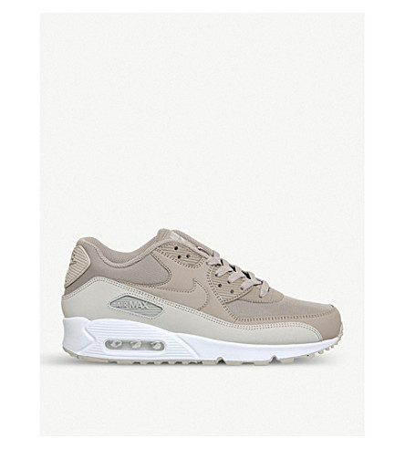 NIKE Air Max 90 leather and mesh trainers (Desert+sand+white
