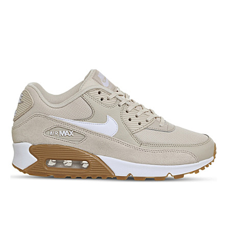 NIKE Air Max 90 suede and mesh trainers (Oatmeal+white+gum
