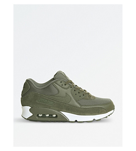NIKE Air Max 90 suede and mesh trainers (Medium+olive