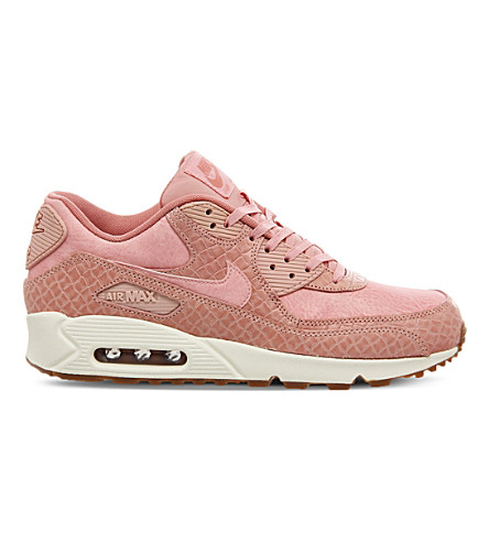 NIKE Air Max 90 croc-embossed leather trainers (Pink glaze weave gum