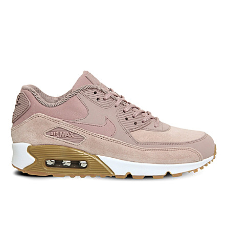 NIKE Air Max 90 leather and mesh trainers (Particle+pink+gum