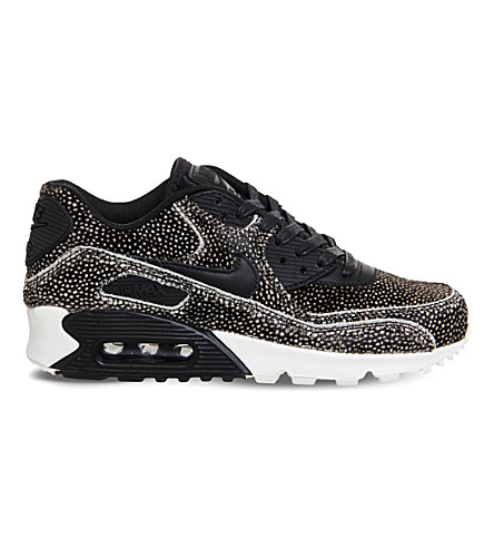 NIKE Air Max 90 leopard print faux-pony hair leather trainers (Sting ray black sail
