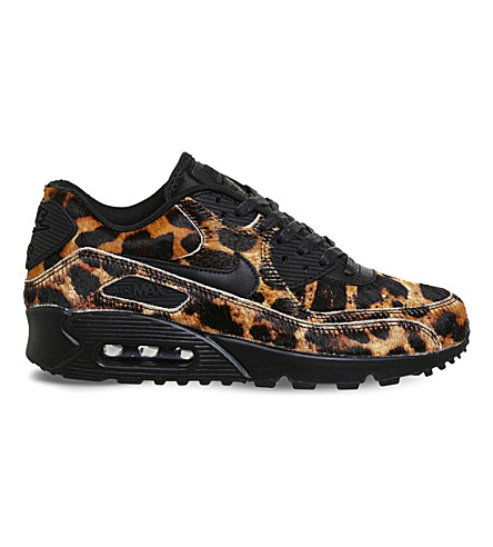 NIKE Air Max 90 leopard print faux-pony hair leather trainers (Leopard black sail