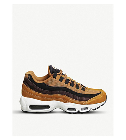 NIKE Air Max 95 suede and ponyhair trainers (Black+cider+pony+fur
